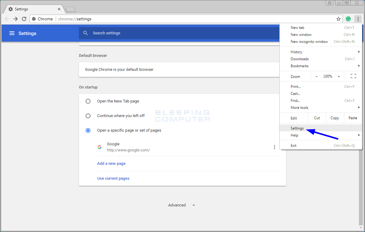 How to Reset The Chrome Browser To Its Default Settings