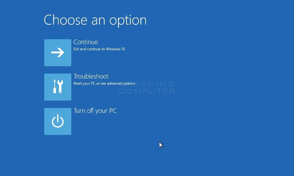 Choose an Option Startup Screen