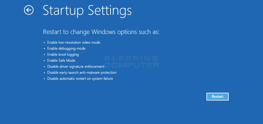 Startup Settings Screen