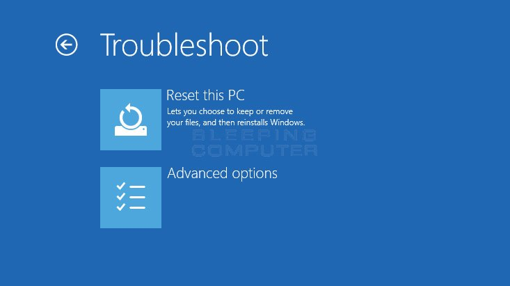 Troubleshoot Options Screen