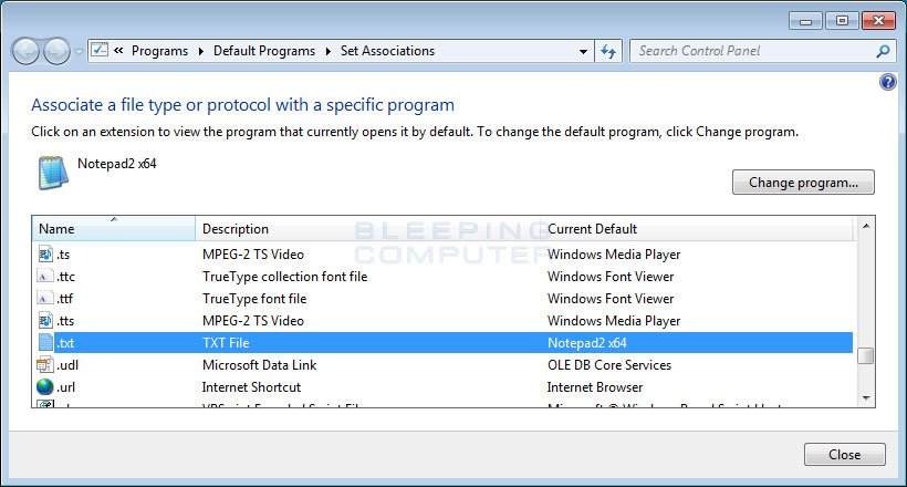 Choose program dialog