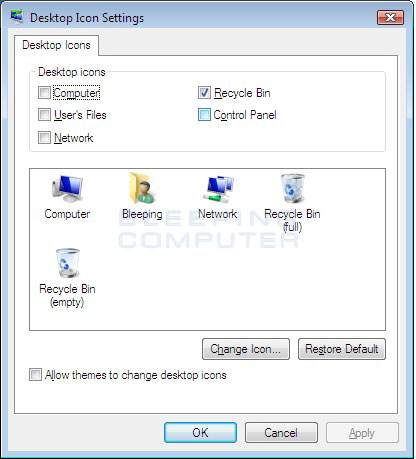 Figure 3. Windows Desktop Icon Settings screen