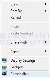 Figure 1. Personalize Menu