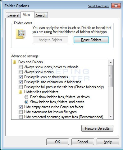 Figure 3. Folder Options screen