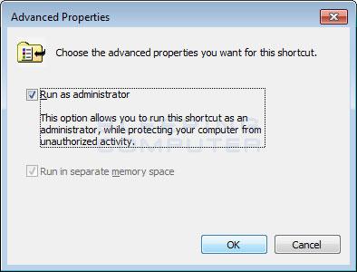 As shortcut's advanced properties screen