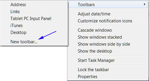 New toolbar menu option