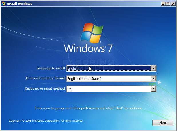 Figure 2. Configure language and location options in Windows 7 Setup