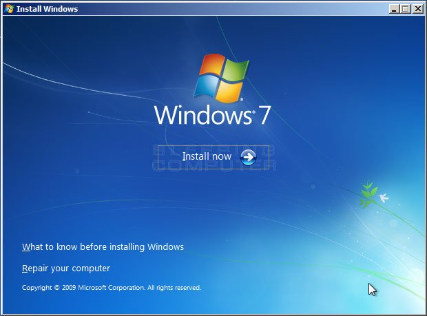 Figure 3. Windows 7 Install Windows screen