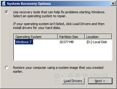 How to start the Windows 7 Recovery Environment
