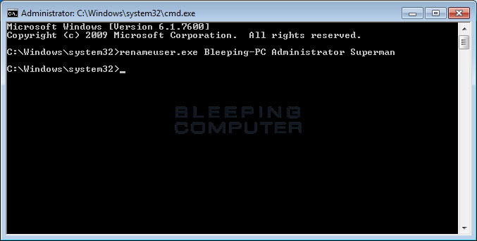 Using the renameuser.exe command