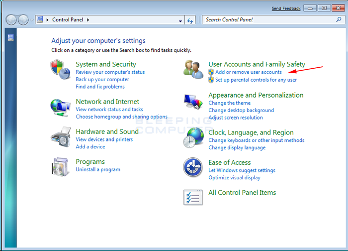 How to create a new user account in windows 7 and windows for Fenetre dos windows 7