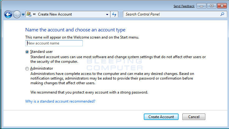 How to create a new user account in Windows 7 and Windows Vista