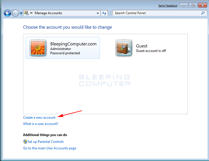 Figure 2. Manage Accounts screen in Windows 7
