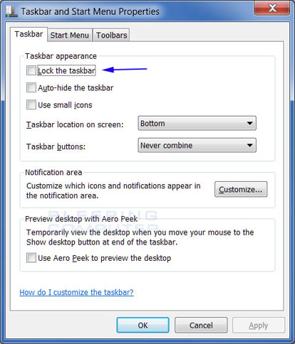 Windows 7 Taskbar properties screen