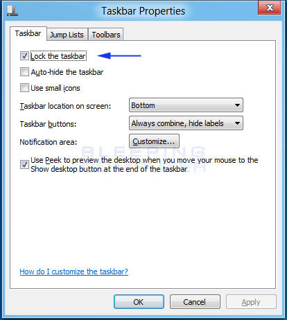 Windows 8 Taskbar properties screen