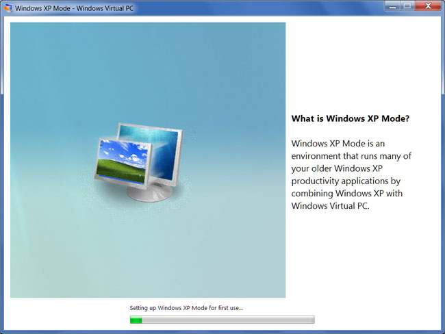 How to install and use windows xp mode in windows 7 windows xp mode being setup for its first use ccuart Image collections