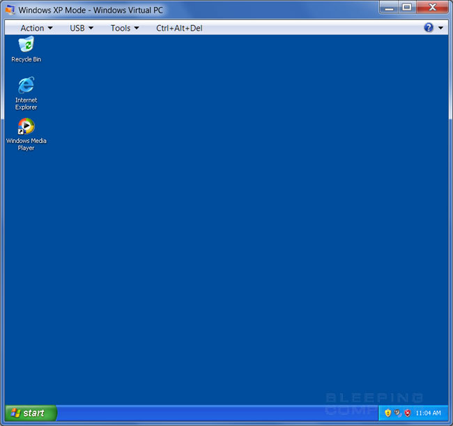 Windows XP Mode Desktop