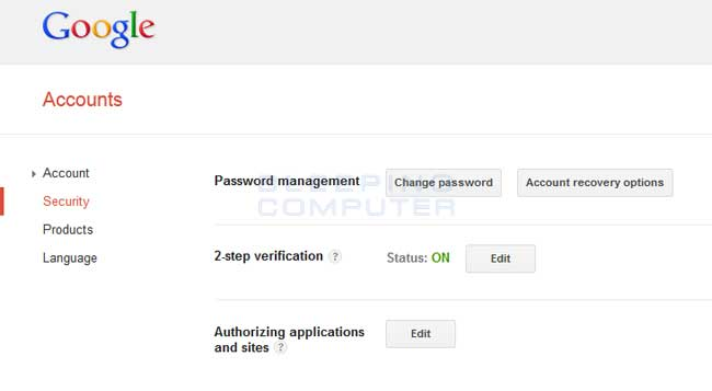 Google Security Setting