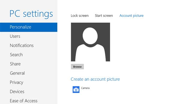 Account Picture settings