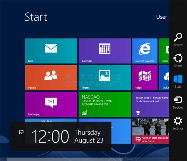 Windows 8 Charms Panel