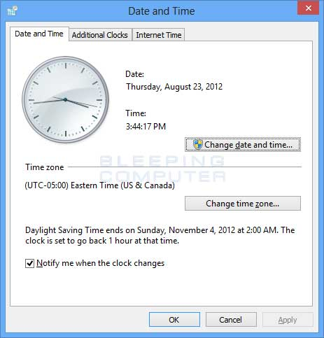 Date and Time Control Panel