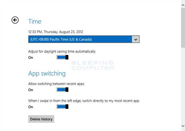 Windows 8 General Settings screen