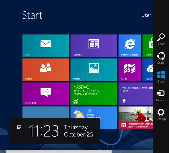 how to change start bar position windows 8
