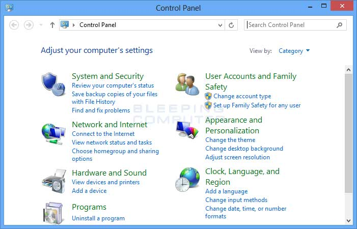 how to open the control panel in windows 8