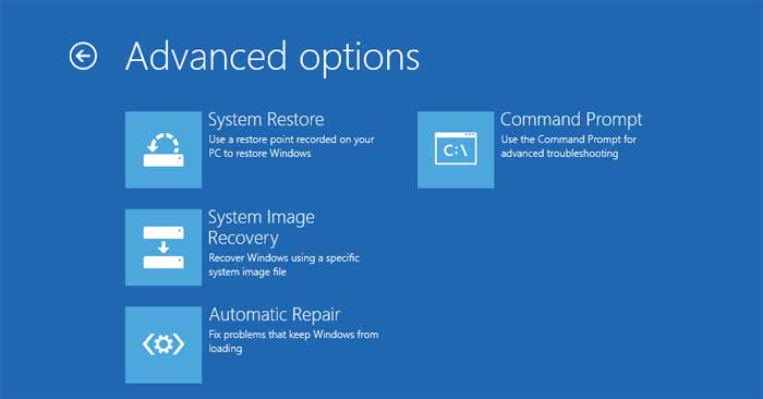 Advanced options screen