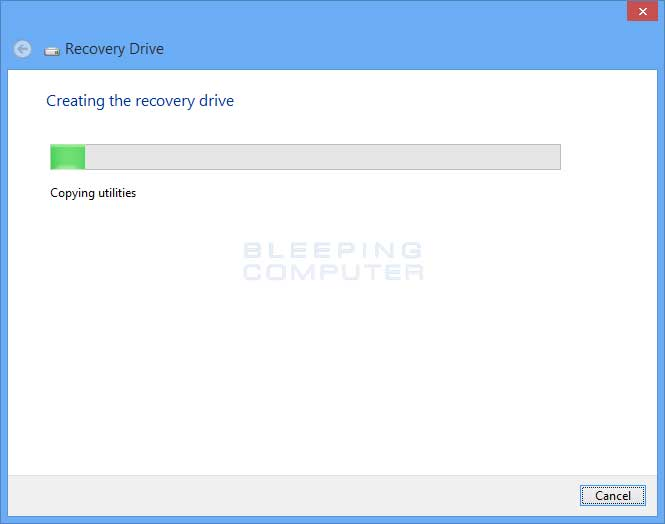 Creating recovery drive