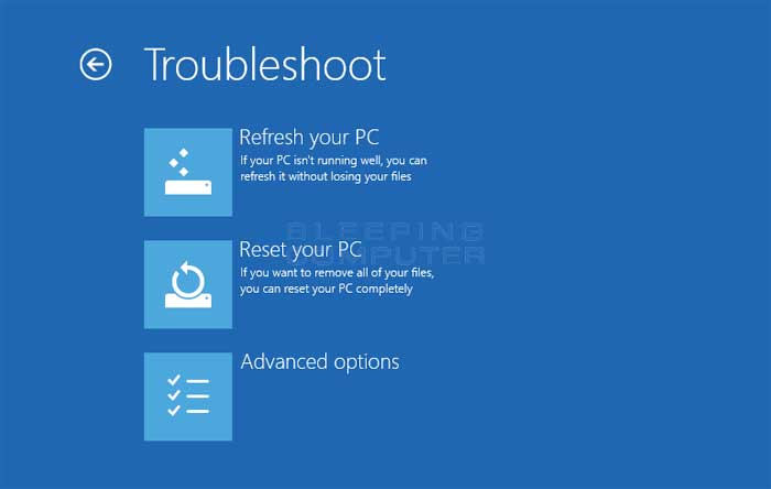 Troubleshoot screen