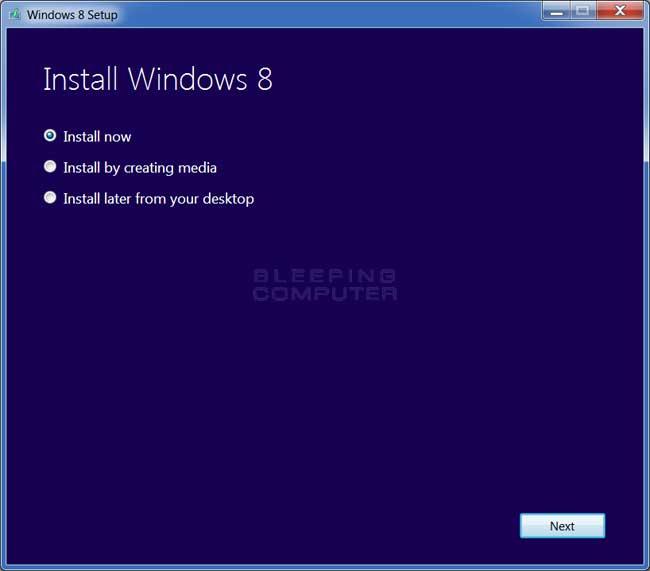 Install Windows 8 Prompt