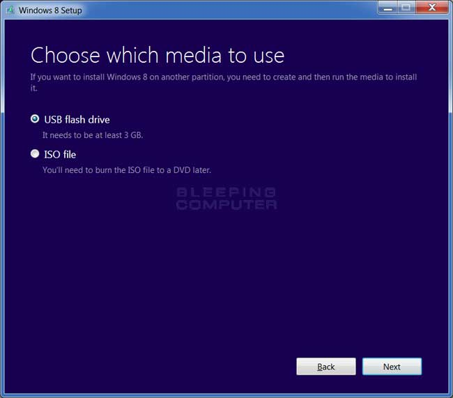 Select Media screen