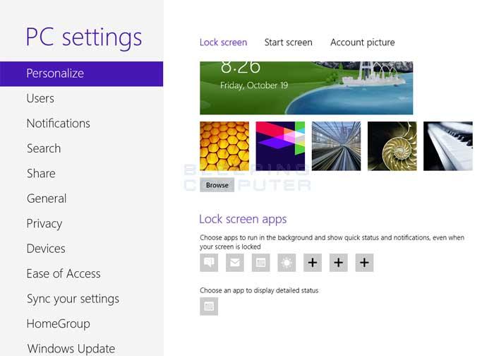 Lock screen settings