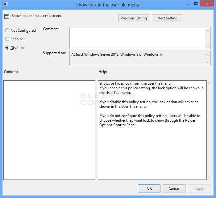 Show lock in user panel policy