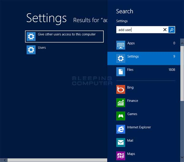 Adding a user in Windows 8