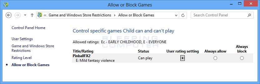 Allow of block games screen