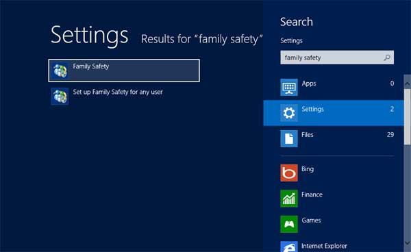 Family Safety Settings search