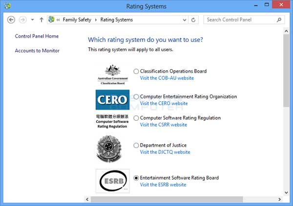 Gaming rating Systems supported by Windows 8