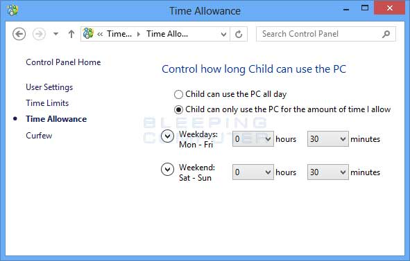 Time Allowance Setting