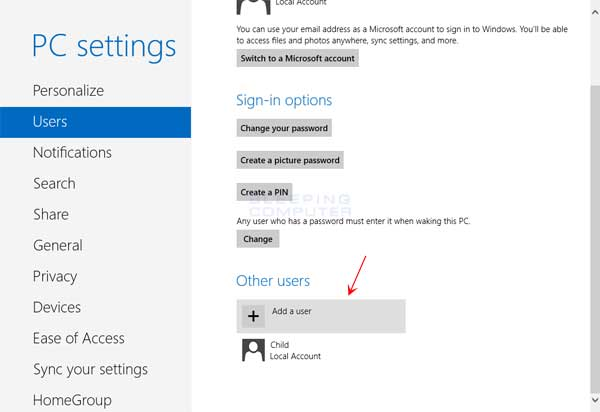 how to change account in windows 8