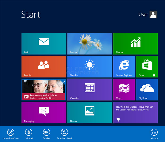 Windows 8 Tiles Settings