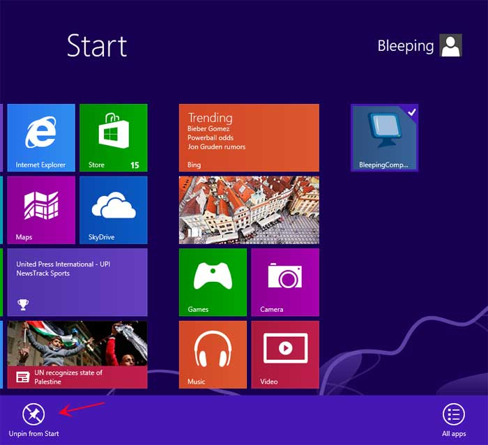 how to create a tile in windows 10