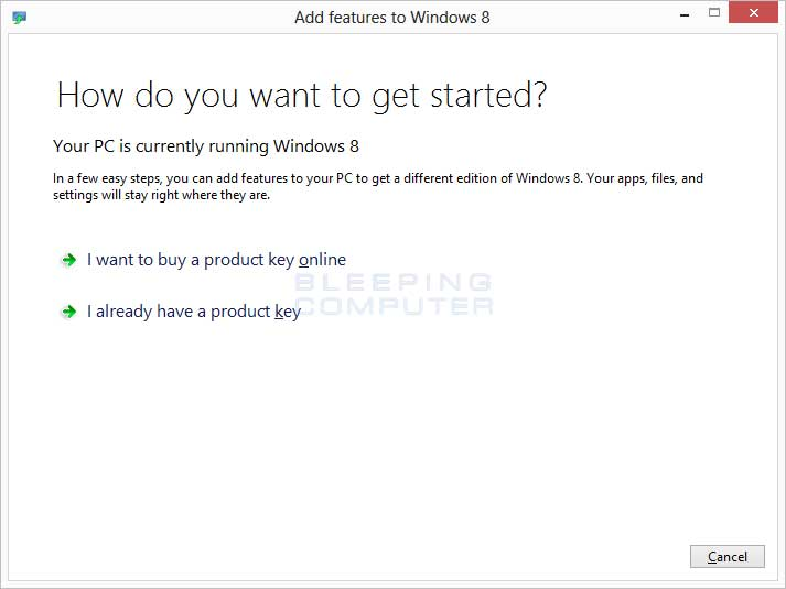 Add Features to Windows 8 Screen