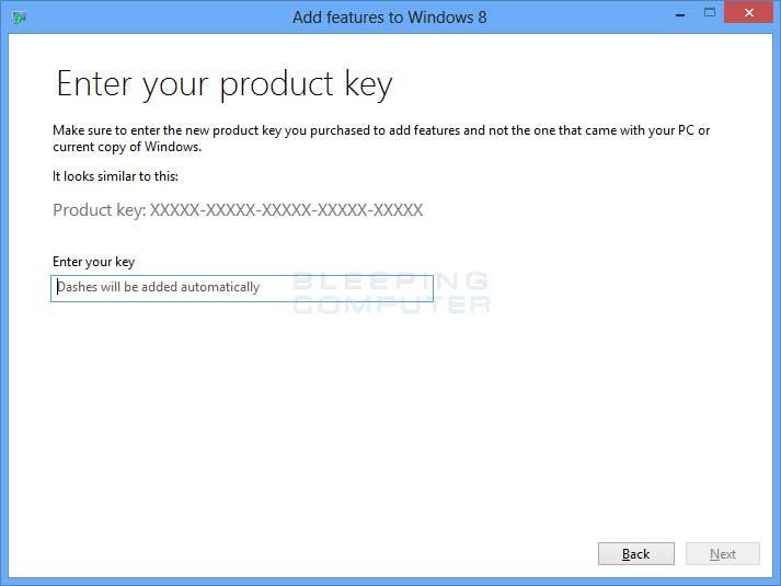 Enter product key screen