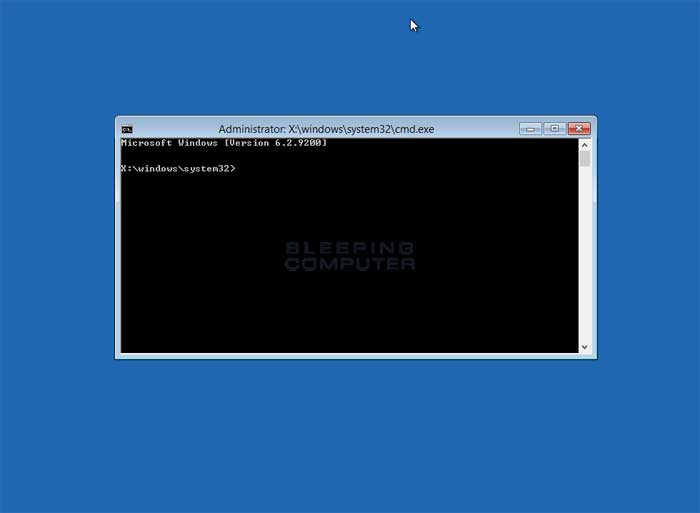 Recovery Environment Command Prompt