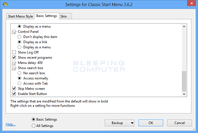 Basic Settings tab