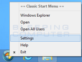 Settings Right-Click Menu