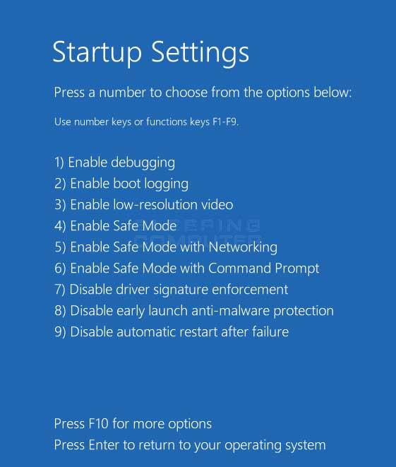 Startup Settings menu