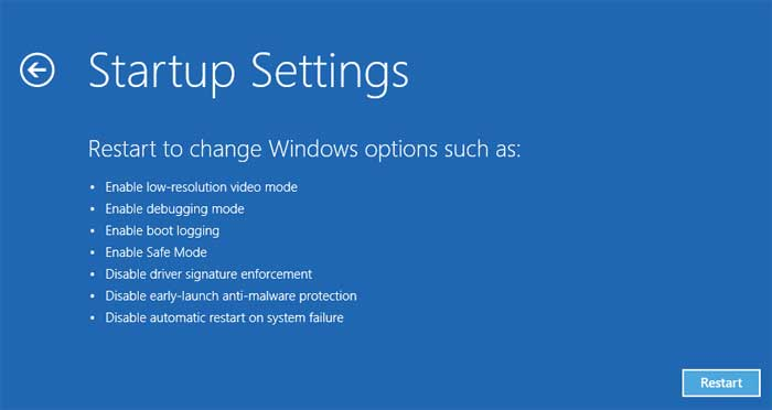 Startup settings option